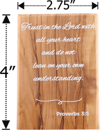 Holy Land Olive Wood Plaque with Bible Verse - Proverbs 3:5 - Logos Trading Post, Christian Gift