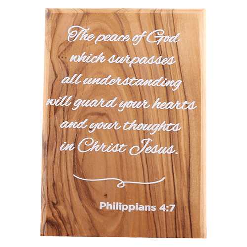 Holy Land Olive Wood Plaque with Bible Verse - Philippians 4:7