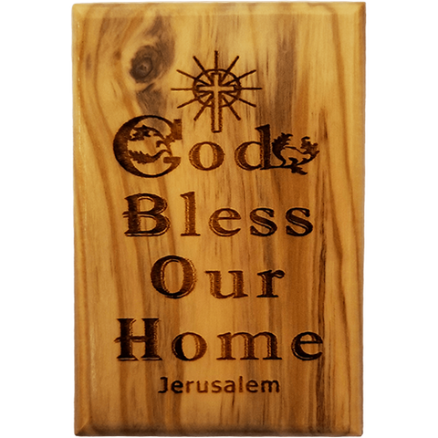God Bless Our Home Olive Wood Magnet front