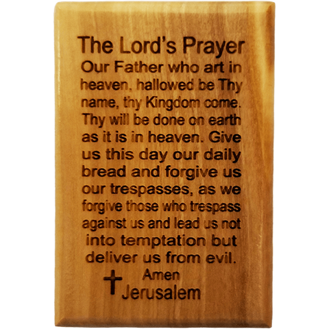 The Lord's Prayer Olive Wood Magnet front