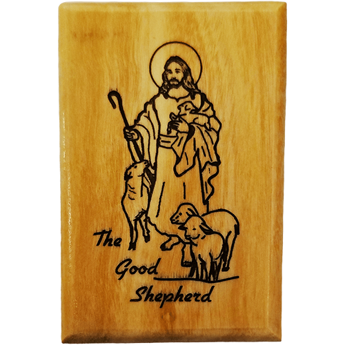 Holy Land Olive Wood Magnet - The Good Shepherd