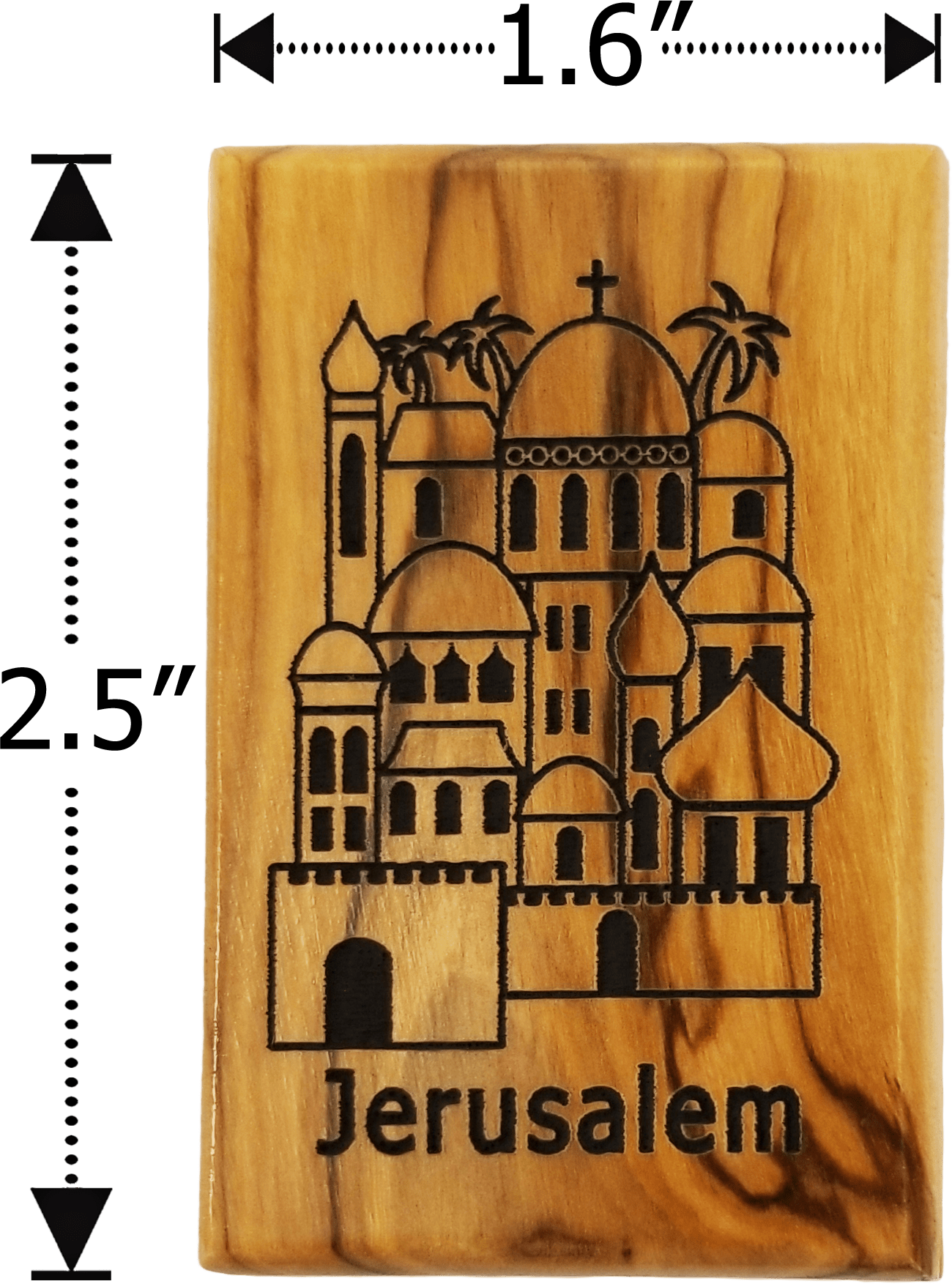Jerusalem City Olive Wood Magnet dimensions