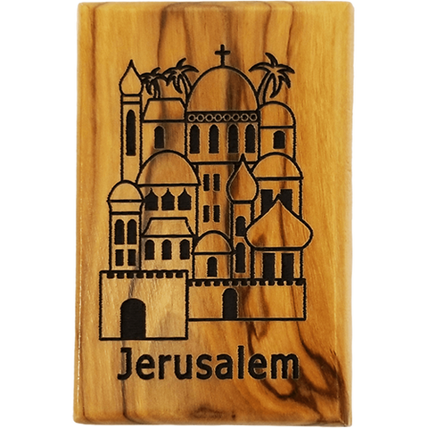 Jerusalem City Olive Wood Magnet