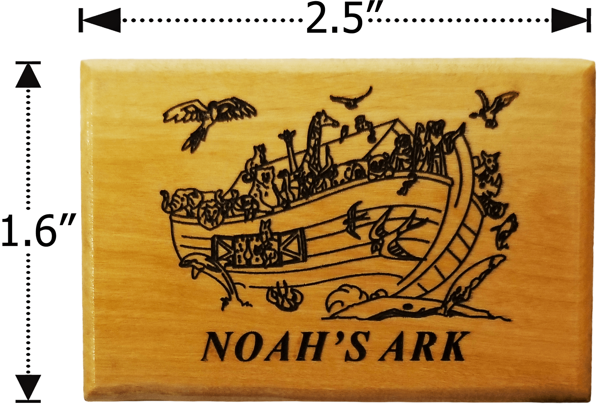 Holy Land Olive Wood Magnet - Noah's Ark with Birds - Logos Trading Post, Christian Gift