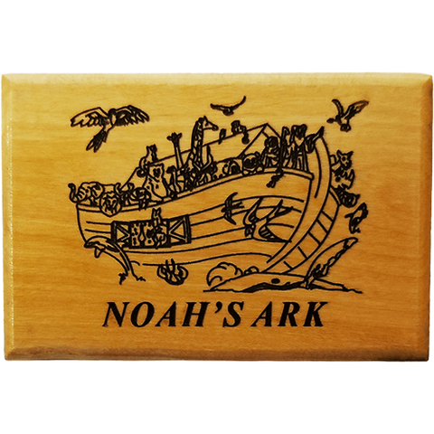 Noah's Ark with Birds Olive Wood Magnet front