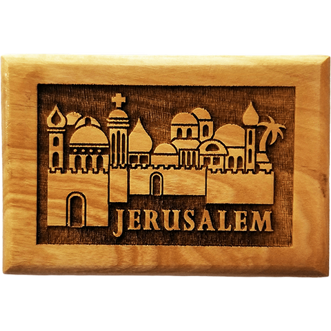 Jerusalem City 3D Olive Wood Magnet front