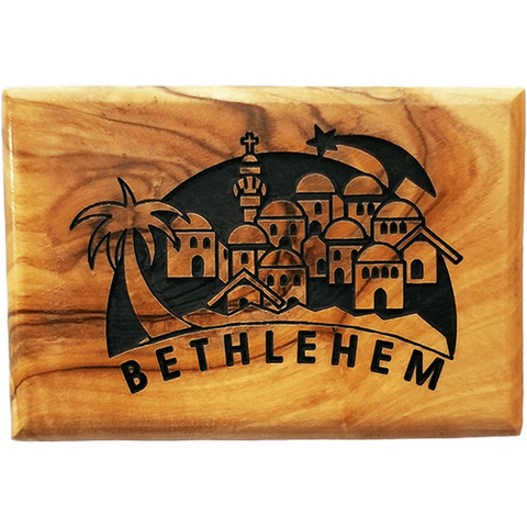 Bethlehem City and Star Horizontal Olive Wood Magnet