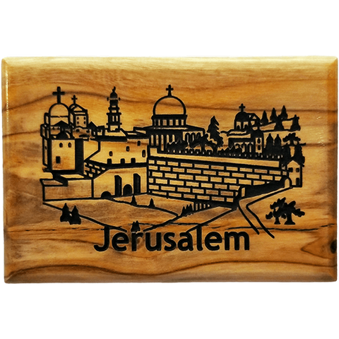 Jerusalem City Horizontal Olive Wood Magnet