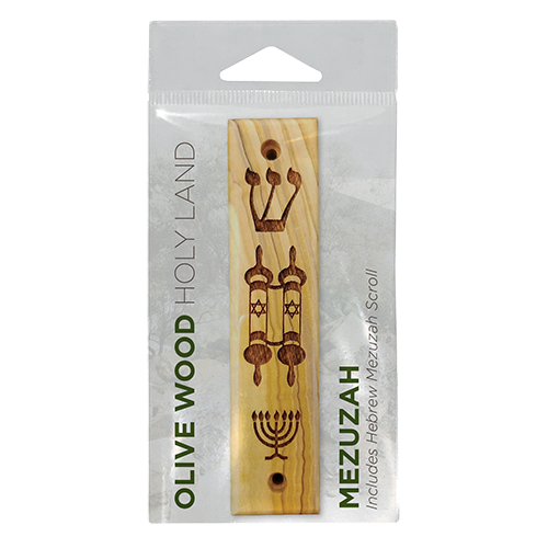 Shema, Torah Scroll, Menorah Olive Wood Mezuzah in its packaging
