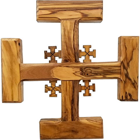Holy Land Olive Wood Jerusalem Wall Cross - Large