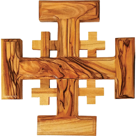 Holy Land Olive Wood Jerusalem Wall Cross - Medium