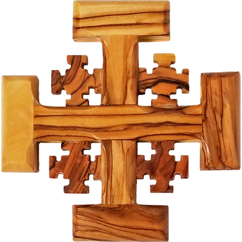 Holy Land Olive Wood Jerusalem Wall Cross - Small