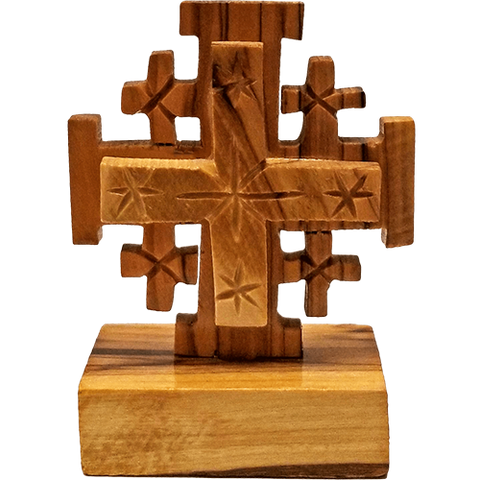 Holy Land Olive Wood Cross on Stand - Jerusalem Cross - Large