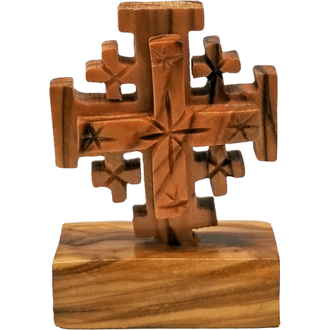 Jerusalem Cross on a Stand - Small, Olive Wood