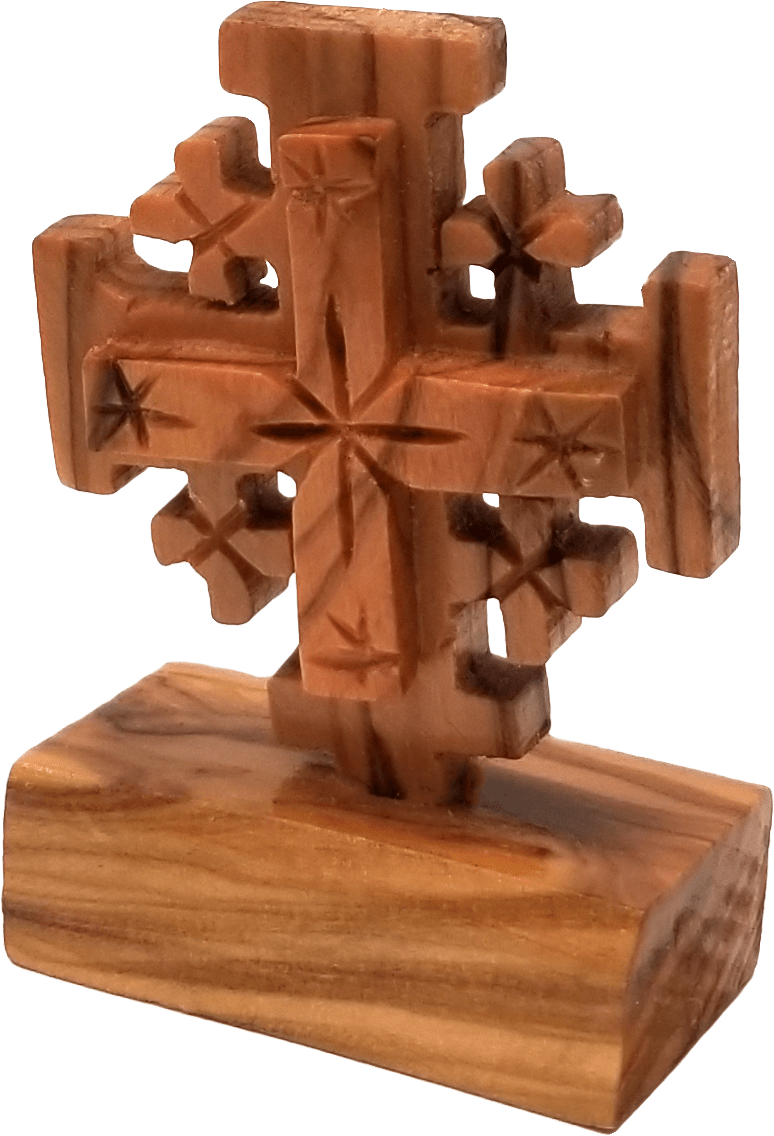 Holy Land Olive Wood Cross on Stand - Small - Logos Trading Post, Christian Gift