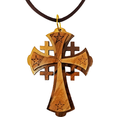 Holy Land Olive Wood Pendant Necklace, Jerusalem Cross Large - Logos Trading Post, Christian Gift