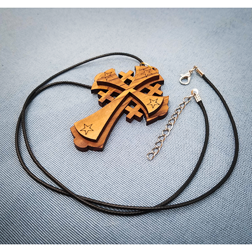 Olive Wood Jerusalem Cross Pendant with its cord