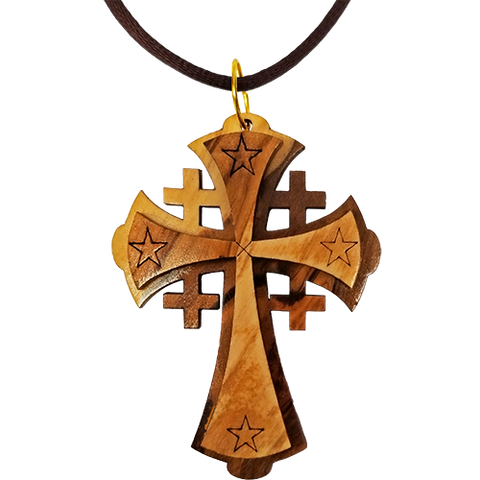 Holy Land Olive Wood Pendant Necklace, Jerusalem Cross - Large