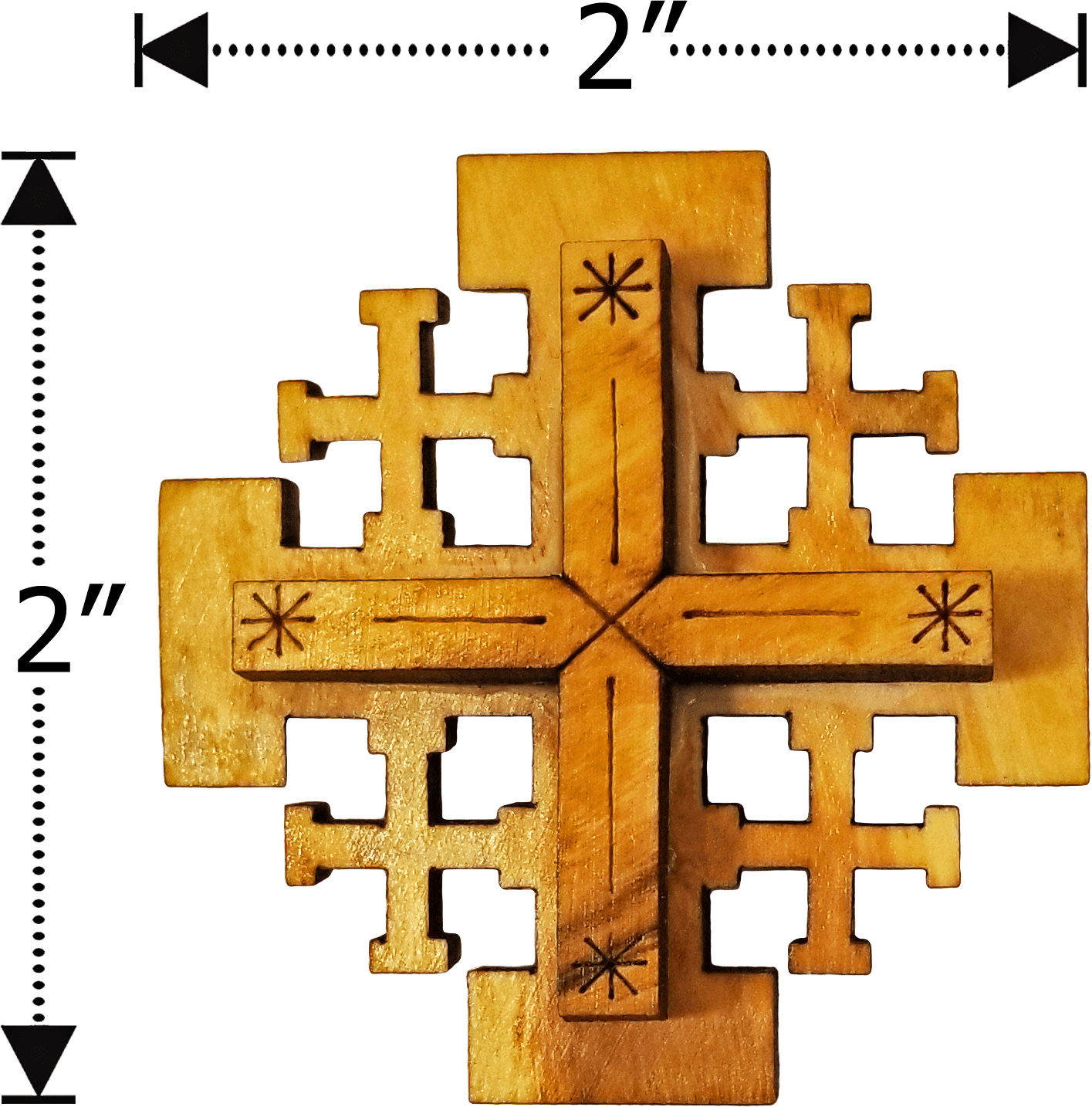 Olive Wood Jerusalem Cross Magnet  dimensions