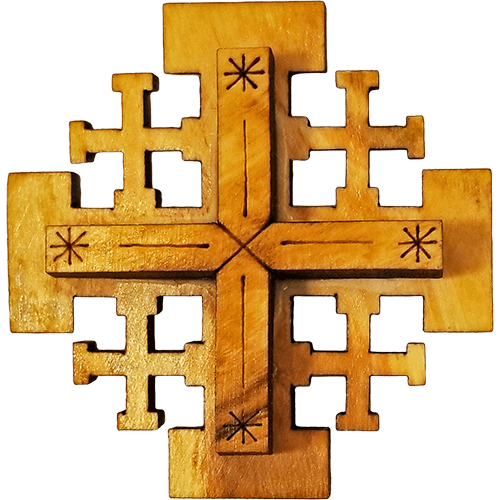 Olive Wood Jerusalem Cross Magnet