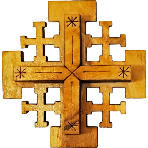 Holy Land Olive Wood Jerusalem Cross Magnet