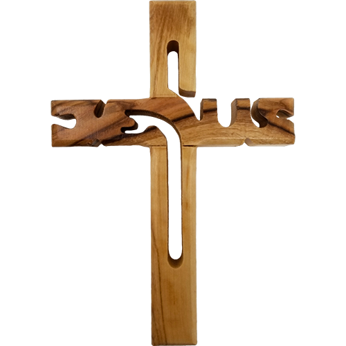 Holy Land Olive Wood Wall Cross, Jesus Cut Out - Medium