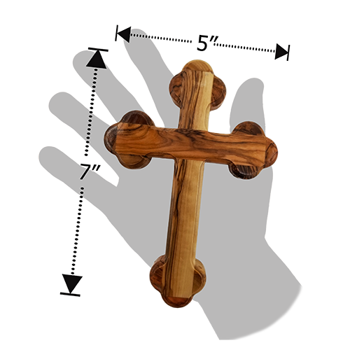 Holy Land Olive Wood Eastern Greek Bottony Wall Cross