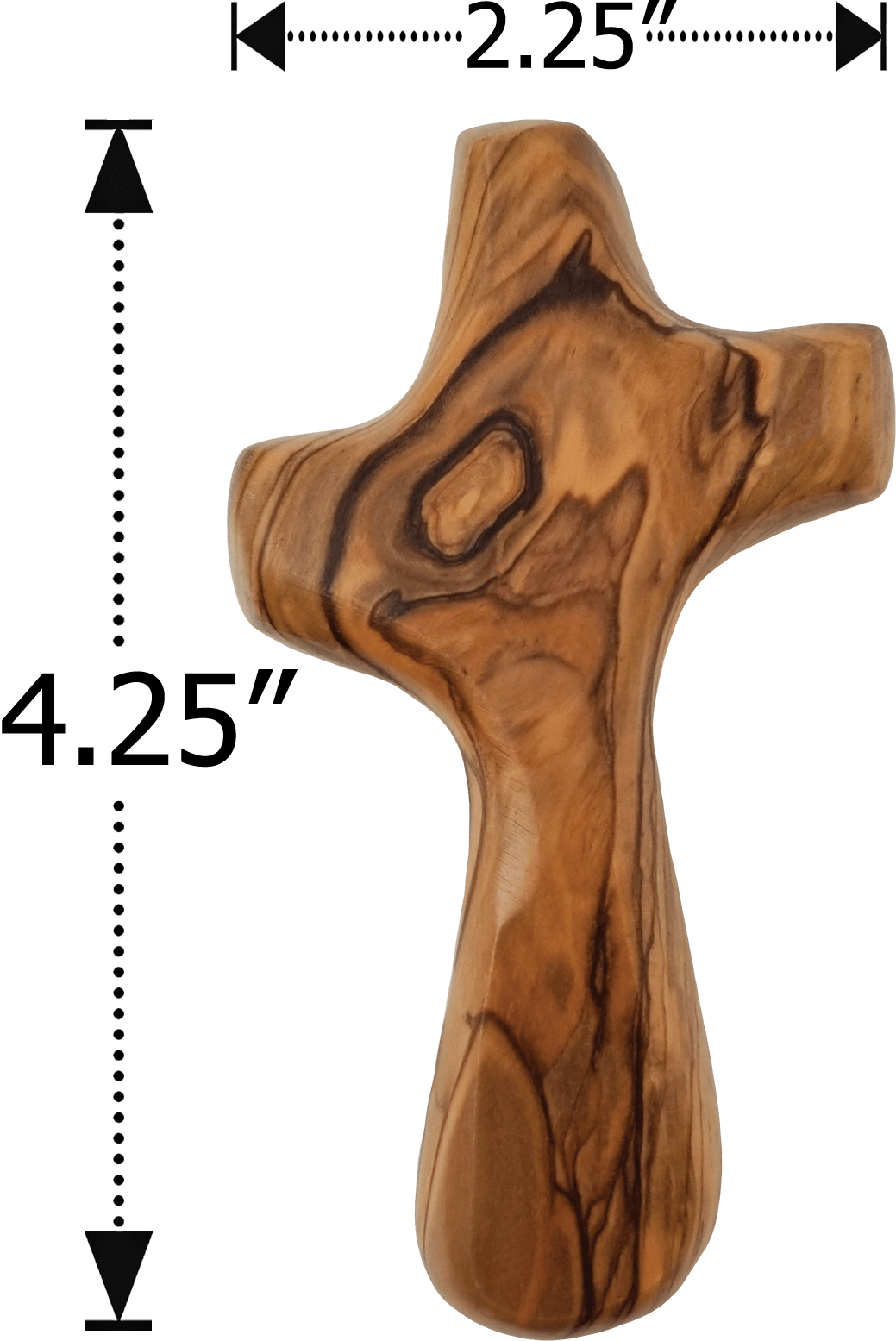 Holy Land Olive Wood Deluxe Handheld Prayer Comfort Cross - Large - Logos Trading Post, Christian Gift