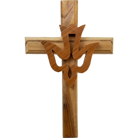 Holy Land Olive Wood Wall Cross with Holy Spirit Dove, Confirmation Cross