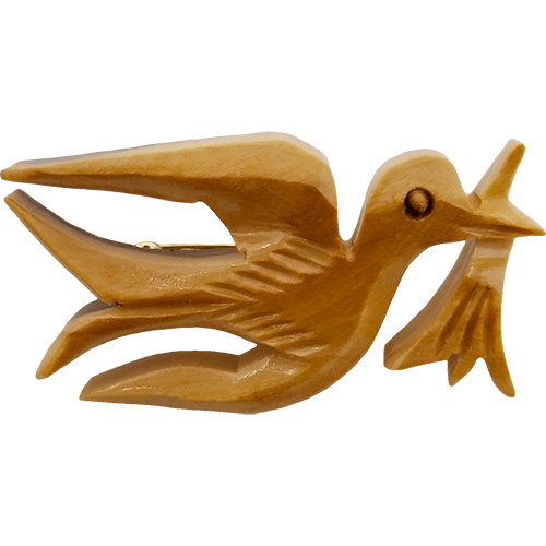 Dove with Branch Olive Wood Pin