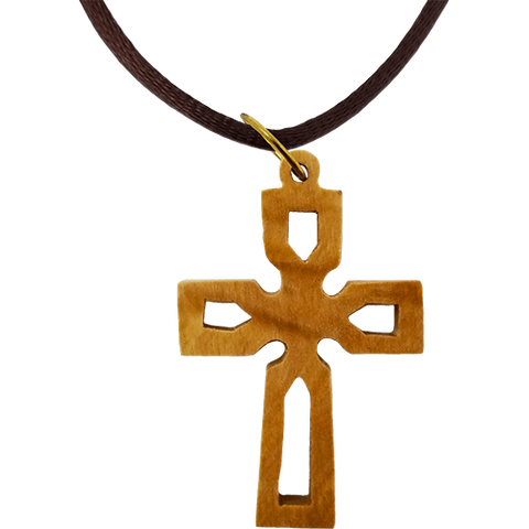 Olive Wood Celtic Cross Cut Out Necklace