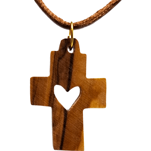 Olive Wood Cross Necklace with Heart Cutout