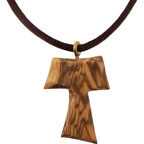 Holy Land Olive Wood Pendant Necklace, Tau Cross