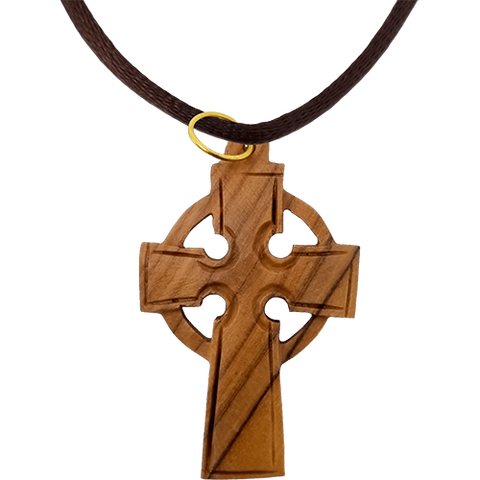 Olive Wood Celtic Cross Necklace