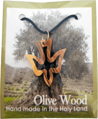 Holy Land Olive Wood Pendant Necklace, Holy Spirit Dove - Logos Trading Post, Christian Gift