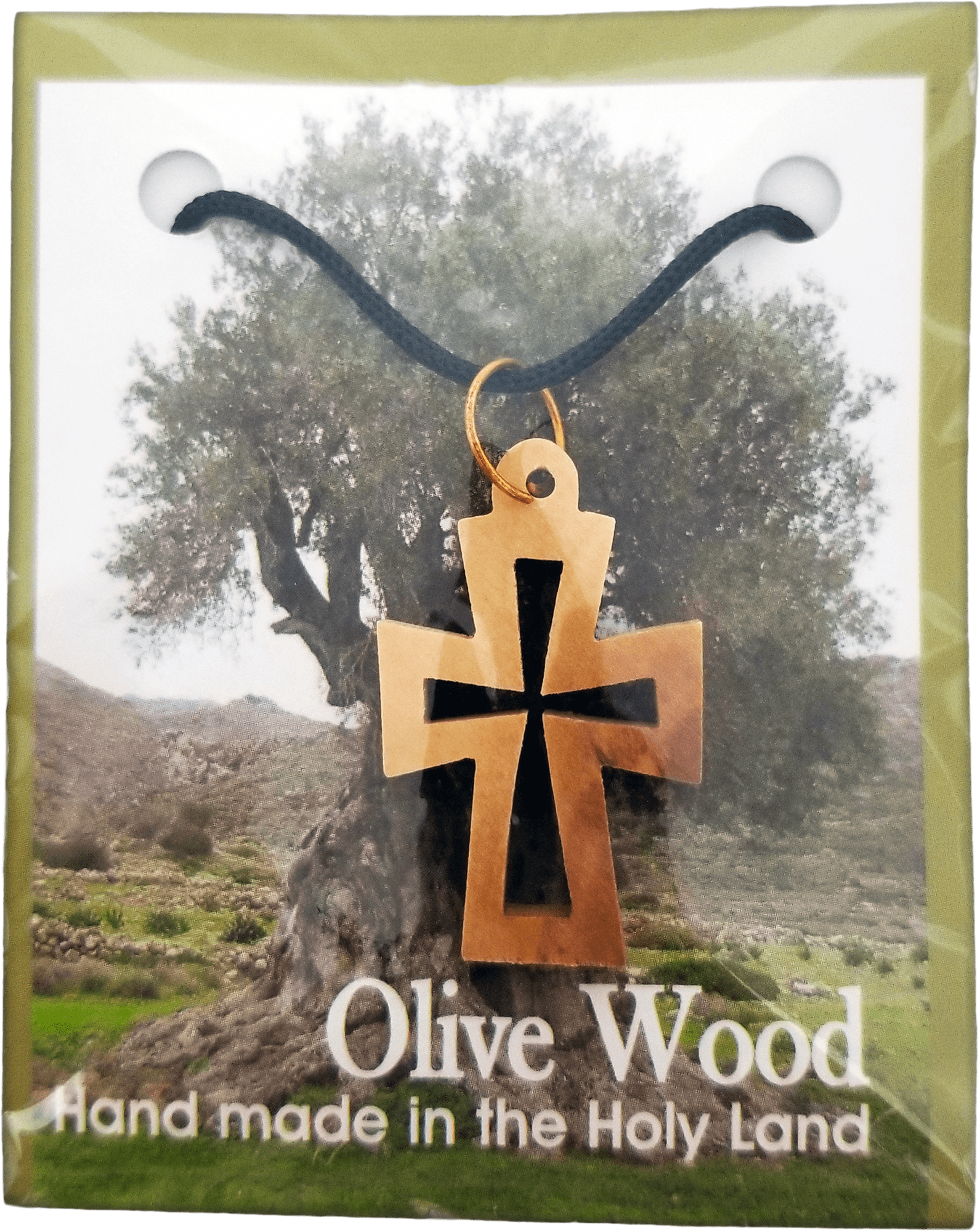 Holy Land Olive Wood Pendant Necklace, Cross Cut Out Flat - Logos Trading Post, Christian Gift