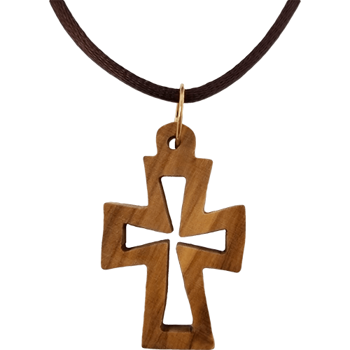 Holy Land Olive Wood Pendant Necklace, Cross Cut Out Flat