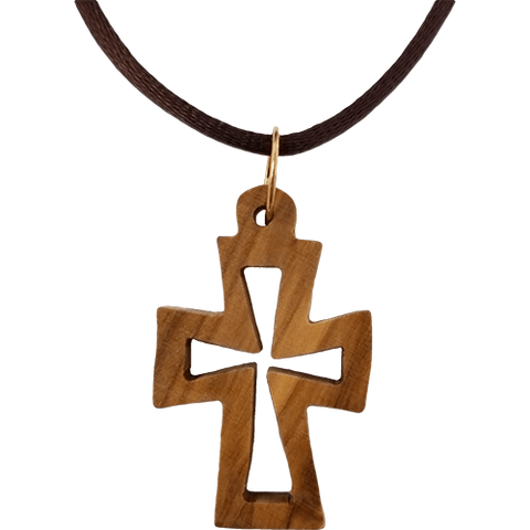 Olive Wood Cross Cutout Necklace with Flat Edges