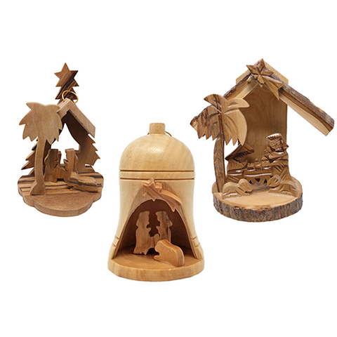 All 3 olive wood Christmas nativity ornaments
