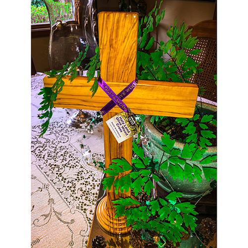"Holy Land 15"" Genuine Olive Wood Standing Cross"