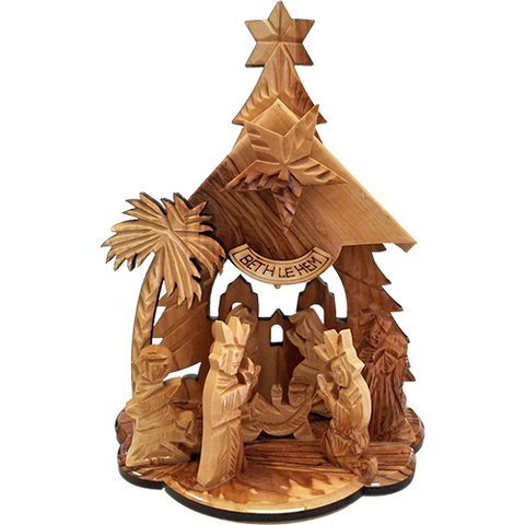 Musical Nativity Grotto-Holy Land Olive Wood  from Israel, Large, Holy Family in the Manger, Tabletop Indoor Nativity Scene