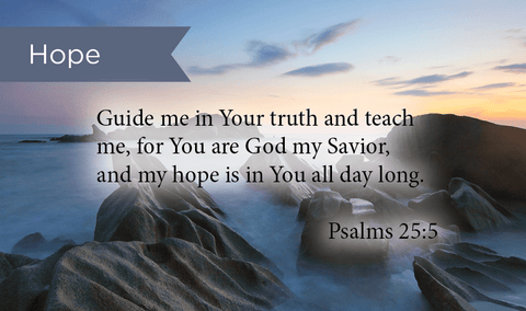 Pass Along Scripture Cards, Hope, Guide Me, Psalms 25:5, Pack 25 - Logos Trading Post, Christian Gift