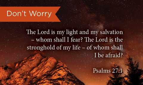 Don't Worry, Psalms 27:1, Pass Along Scripture Cards, Pack 25