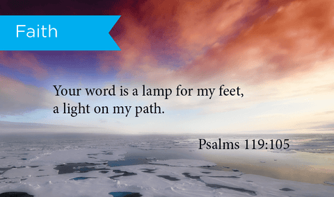 Pass Along Scripture Cards, Faith, Psalms 119:105, Pack 25 - Logos Trading Post, Christian Gift