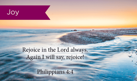 Pass Along Scripture Cards, Joy, Rejoice Phil 4:4, Pack 25 - Logos Trading Post, Christian Gift