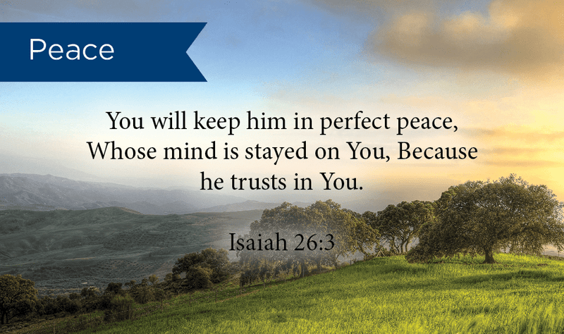 Pass Along Scripture Cards, Peace, Isaiah 26:3, Pack 25 - Logos Trading Post, Christian Gift