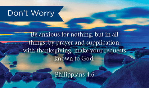 Pass Along Scripture Cards, Don't Worry, Be Anxious Phil 4:6, Pack 25 - Logos Trading Post, Christian Gift