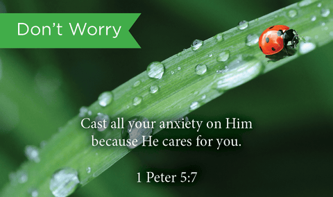 Pass Along Scripture Cards, Don't Worry, 1 Peter 5:7, Pack 25 - Logos Trading Post, Christian Gift
