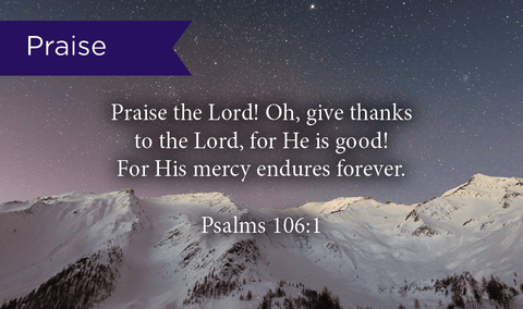 Pass Along Scripture Cards, Praise, Psalms 106:1, Pack 25 - Logos Trading Post, Christian Gift