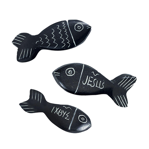 Holy Land Hand-Carved Serpentine Stone Pocket Fish, Variety Pack of 3